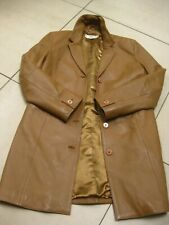 Ladies NEXT tan real leather COAT size UK 6 petite long line duster trench brown