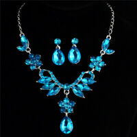 Female Crystal Pendant Bib Choker Chain Statement Necklace Earrings Jewelry Sets