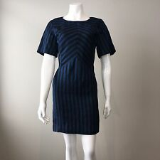 Rebecca Minkoff Short Sleeve Sheath Dress Blue Black Stripe Size 2 AU 8