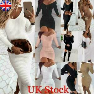 Womens Ribbed Long Sleeve Bodycon Jumper Dress Ladies Evening Party Mini Dresses
