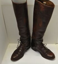 Vtg Equestrian Leather Tall Knee Lace Up Horse RIding Boots Pamela M Carson SZ 6