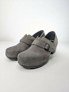 Dansko Tamara Belted Comfort Leather Suede Slip On Clog Shoes Sz 40