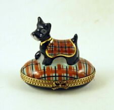 New French Limoges Box Scottish Terrier Scottie Dog in Designer Plaid Outfit