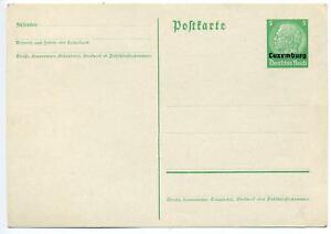 Luxemburg ovpt 5pf Hindenberg postal stationery card