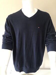 Tommy Hilfiger V Neck Jumper Men's Navy size XL lightweight cotton smart 3