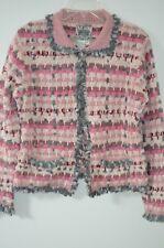Anthropologie Curio Pink/Gray/Beige Woven 53% Ramie Cardigan Sweater Size M