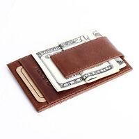 Men Slim Leather Credit Card Pocket Holder Mini Small Thin Wallet ID Case Kit^