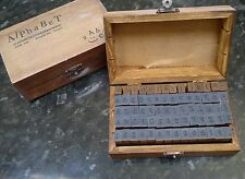 Vintage style wooden box rubber stamps set alphabet letters & numbers - 70pcs