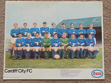 rare FOOTBALL SOCCER -  Large ESSO 1969 CARDIFF CITY FC Team Poster
