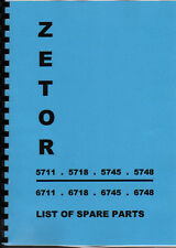 Zetor 5711/5718/5745/5748/6711/6718/6745/6748 Illustrated Tractor Parts Book