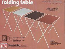 VINTAGE AD SHEET #1244 -  MARSH ALLAN RETRO FOLDING TABLES