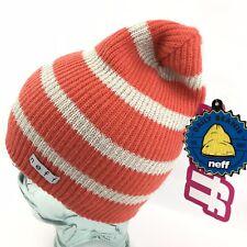 Neff Women's Daily Sparkle Beanie Striped Coral Acrylic Knit NWT