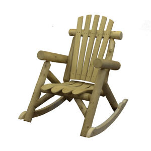 Lakeland Mills Country Cedar Log Wood Outdoor Porch Patio Rocking Chair, Natural