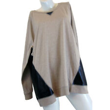 DG^2 Diane Gilman Pullover Sweater with Black Faux Leather Panels - Size 1X