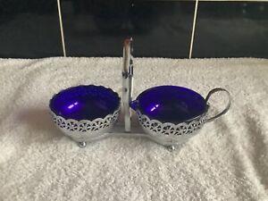 VINTAGE ENGLISH CHROME & COBALT BLUE GLASS SUGAR AND CREAM SET ON STAND