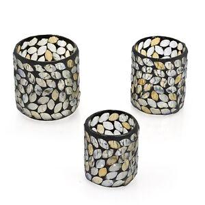 Home Decor Gift Set of 3 Gray Champagne Mosaic Leaf Tea Light Candle Holder