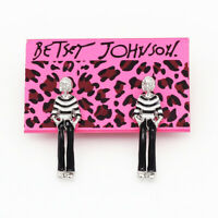 Betsey Johnson Black/White Enamel Lady Girl Ear Stud Women's Earrings Gift