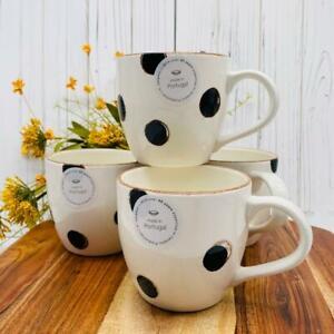 New V Ceramic Made In Portugal Black Polka Dots Coffee Mug/Cup Set 4