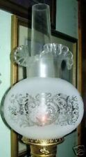 """4"""" ETCHED & CRIMP TOP glass shade for old oil, gas lamp"""