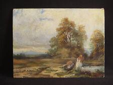 ancien tableau huile sur carton paysage forêt et lac école de Barbizon XIX ème