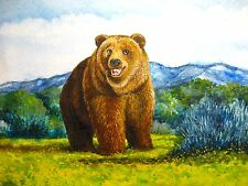 Watercolor Painting Brown Bear Wildlife Mountains Forest Nature Animals 5x7 Art
