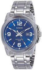 Casio Men's Silver-Toned Stainless Steel Quartz Watch w/ Blue Dial MTP1314D-2A