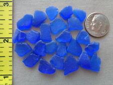 25 PIECES PURE BEACH SEA GLASS SURF TUMBLED COBALT BLUE SMALL TINY CRAFT QUALITY