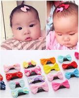 10 PCS Baby Girl's Mixed Colors Ribbon Hair Bow Mini Latch Clips Safe Hair Clip