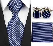 PT0110 Navy Blue Striped Necktie Men's Tie Cufflinks Hanky Handkerchief Set