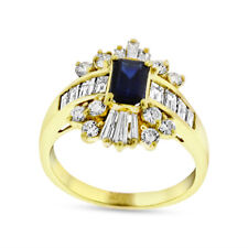 1.75 Ct Natural Diamond & Sapphire Fashion Ring in Solid 14k Yellow Gold