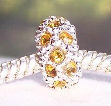 November Birthstone Yellow Rhinestone Ring Spacer Charm for European Bracelets