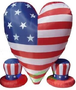 HALLOWEEN JULY 4TH PATRIOTIC MEMORIAL DAY HEART 2 HATS INFLATABLE AIRBLOWN 6 FT