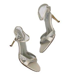 Liz Renee Womens wedding shoes high heels off white champagne satin 8 1/2 bling