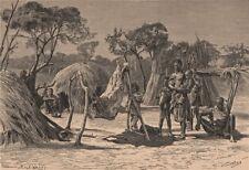 Bushman Encampment. South Africa 1885 old antique vintage print picture