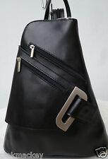 Damen Rucksack Leder Bag Pack Italy Flugbegleiter Vera Pelle schwarz