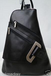 Damen Rucksack Leder Bag Pack Italy Flugbegleiter Vera Pelle schwarz NEU