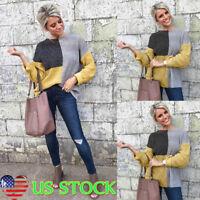 Women O Neck Ladies Oversized Block Stripe Baggy Chunky Knit Jumper Sweater Tops