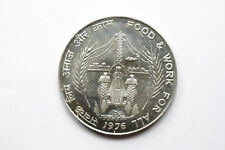 Rare 1976 India Large Silver 50 Rupees- Food and Work/Tractor- UNC