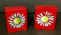 Vintage Wooden Salt & Pepper Shakers Red with Daisies