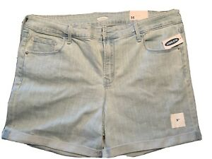 """Old Navy Fitted Stretch Rolled Hem Light Blue Denim Shorts Size 16 5"""" Inseam"""