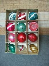 Assortment of Vintage Glass Christmas Tree Ornaments Lot of 12