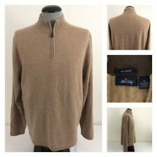 Allen Solly 1/4 Zip Mens XL 100% Cashmere Long Sleeve Brown Pullover Sweater