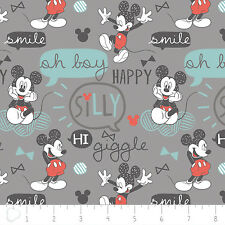 Disney Mickey Mouse Oh Boy Grey Camelot Premium 100% cotton fabric by the yard