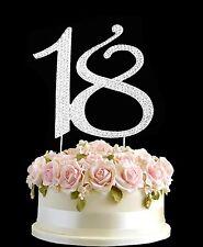 Diamante Rhinestone Gem Cake Topper Birthdays Anniversary Silver Numbers -18 UK