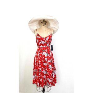 LULUS Red Floral SUNDress Slip Dress sz S Flirty Beachy Tropical