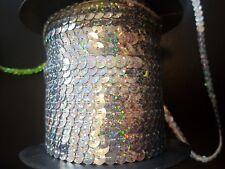 sew on string SEQUIN 6mm hologram SILVER sequin dressmaking trim trimming