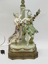 ANTIQUE 19c POSSIBLY MEISSEN GERMAN TWO MAIDEN & TAMBOURINE PORCELAIN TABLE LAMP