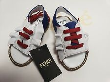 7a1b89431e69 NEW Fendi Baby Girls white red blue leather logo ruffle sandals shoes 20 US  4