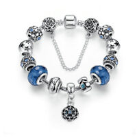 VOROCO Mother's Love Silver Chain Charm Bead Fit Bracelet With Blue Glass Beads