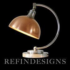 ART DECO MARKEL STREAMLINE MACHINE AGE MODERN CHROME BRASS TABLE LAMP 30s FARIES